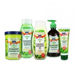 Sada konopné kosmetiky, 5ks - masážní gel, šampon, sprchový gel, mazání, krém na ruce