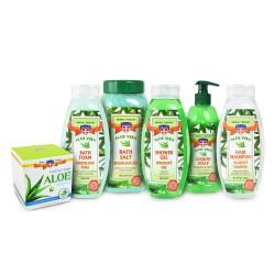 Sada kosmetiky Aloe vera, 6ks - pleť. krém, šampon, gel, sůl, pěna, mýdlo