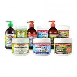 Sada masážní kosmetiky, 9ks - 3x masáž. gel 600ml, 3x mazání 500ml, 3x mast 125ml