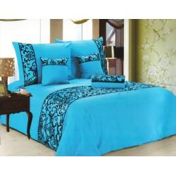 Luxusní povlečení se saténem, bavlna, 6 dílné, světle modrá, 140x200 70x90 40x40