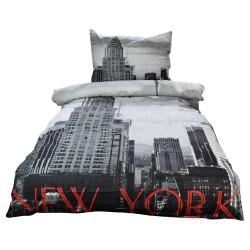 Povlečení New York s 3D efektem, bavlna, 2 dílné, 140x200 70x90