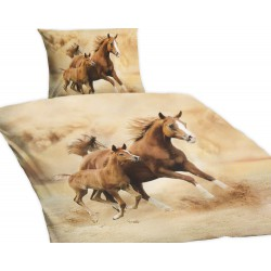 Povlečení Standard s 3D efektem, Koně, bavlna, 4 dílné, 140x200 70x90