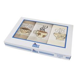 Kuchyňské utěrky Coffee, dárkové balení, bavlna, 3ks, 50x70cm