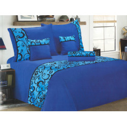 Luxusní povlečení se saténem, bavlna, 6 dílné, modrá, 140x200 70x90 40x40