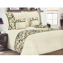 Luxusní povlečení se saténem, bavlna, 6 dílné, krémová, 140x200 70x90 40x40