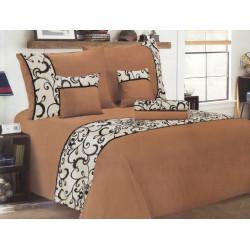 Luxusní povlečení se saténem, bavlna, 6 dílné, hnědá, 140x200 70x90 40x40