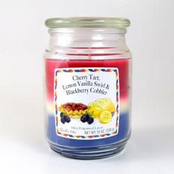 Vonná svíčka, Višňový koláč - citron s vanilkou - ostružinový koktejl, třívrstvá, 538g