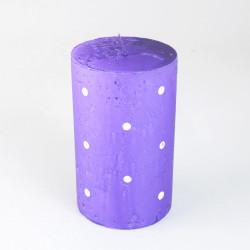 Svíčka, Válec, puntík, fialová, 400g