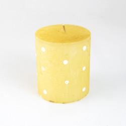 Vonná svíčka, Válec, puntík, žlutá, 200g