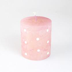 Vonná svíčka, Válec, puntík, růžová, 200g