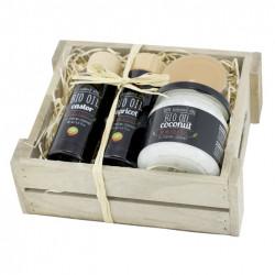 Luxusní dárková bedýnka Bio Oil, 4ks - ricinový olej, meruňkový olej, kokosový olej, čajová svíčka