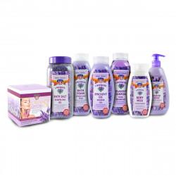 Sada levandulové kosmetiky, 7ks - šampon 500ml, gel 500ml, koup. sůl 900g, pěna 500ml, mýdlo 500ml, krém, mléko 250ml