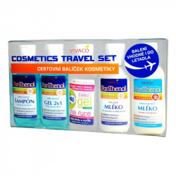 Travel set, šampon 50ml, sprchový gel 50ml, mléko s panthenolem 50ml, opalovací mléko spf 30 50ml, čistící gel na ruce 50ml